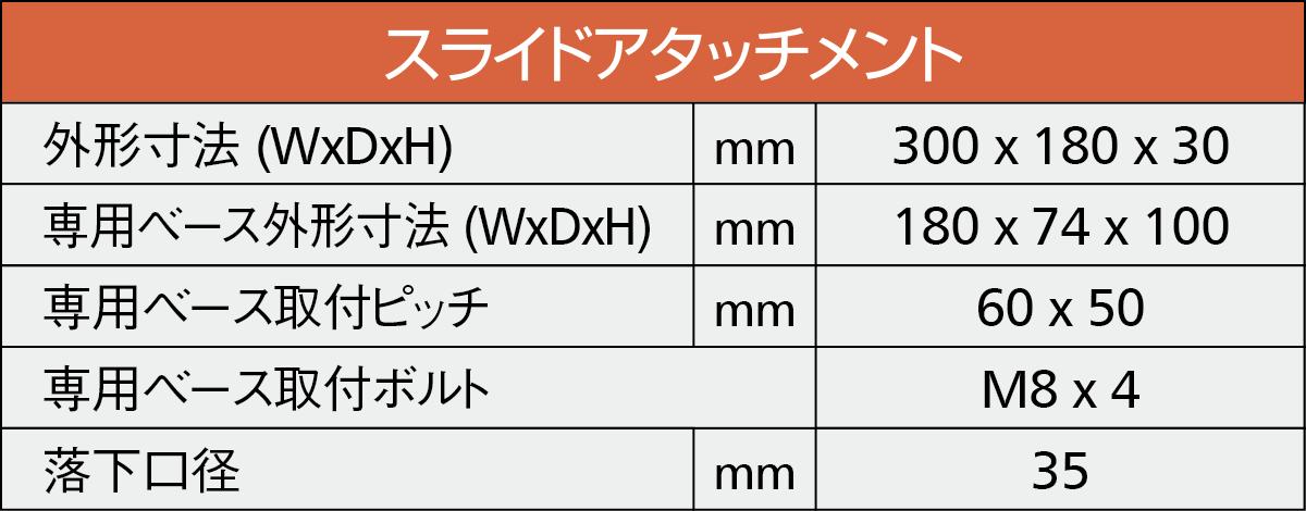 スライドアタッチメント詳細